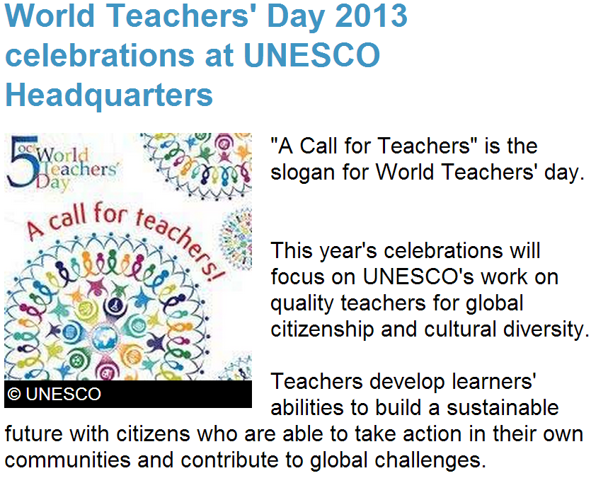 philippines teacher day Unesco proclaimed 5 october to be world teachers' day in 1994, celebrating the great step made for teachers on 5 october 1966, when a special intergovernmental conference convened by unesco in paris adopted the unesco/ilo recommendation concerning the status of teachers, in cooperation with the ilo.