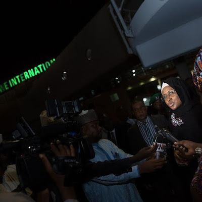 6 - Mrs Aisha Buhari returns from the UK after visit with husband, relays the president's message to Nigerians (photos)