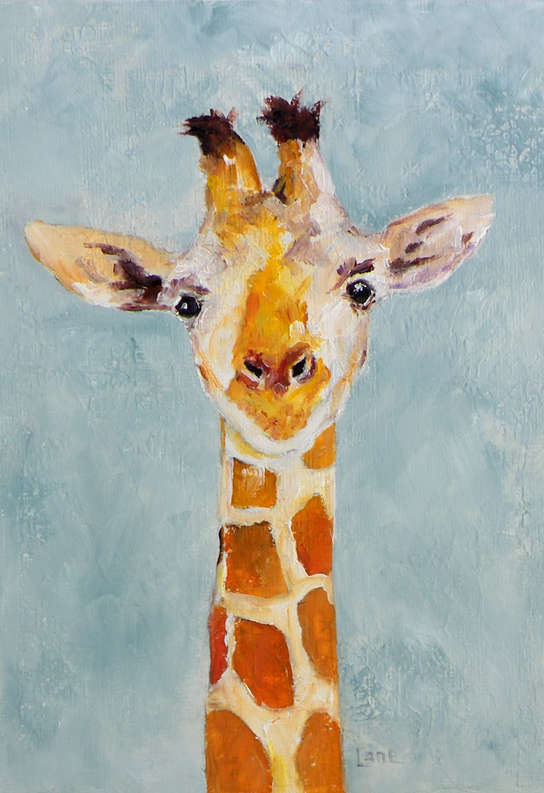 Art for life baby g a giraffe original oil on for What paint for canvas