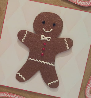 Gingerbread man Christmas card close up