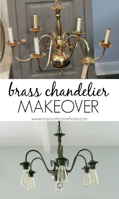 Spray painted brass chandelier
