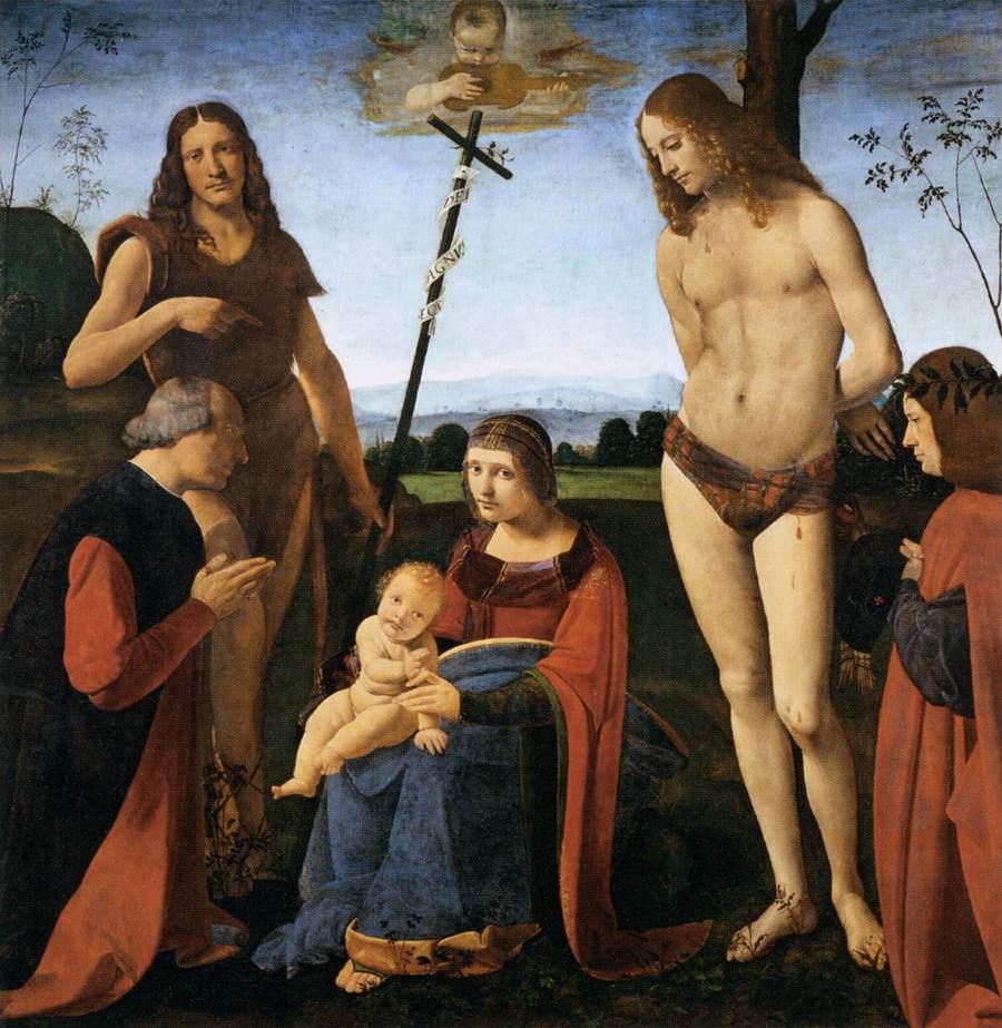 Антонио Джованни ольтраффио Пала Касио Пэрис Мадонна и ребенок со святым Иоанном посещают святого Себастьяна и двух доноров