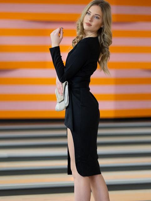 Long Sleeve Midi Dress Heather black
