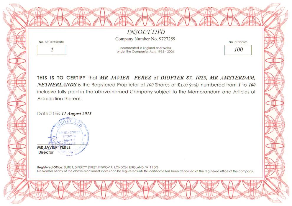 Удостоверение Insolt