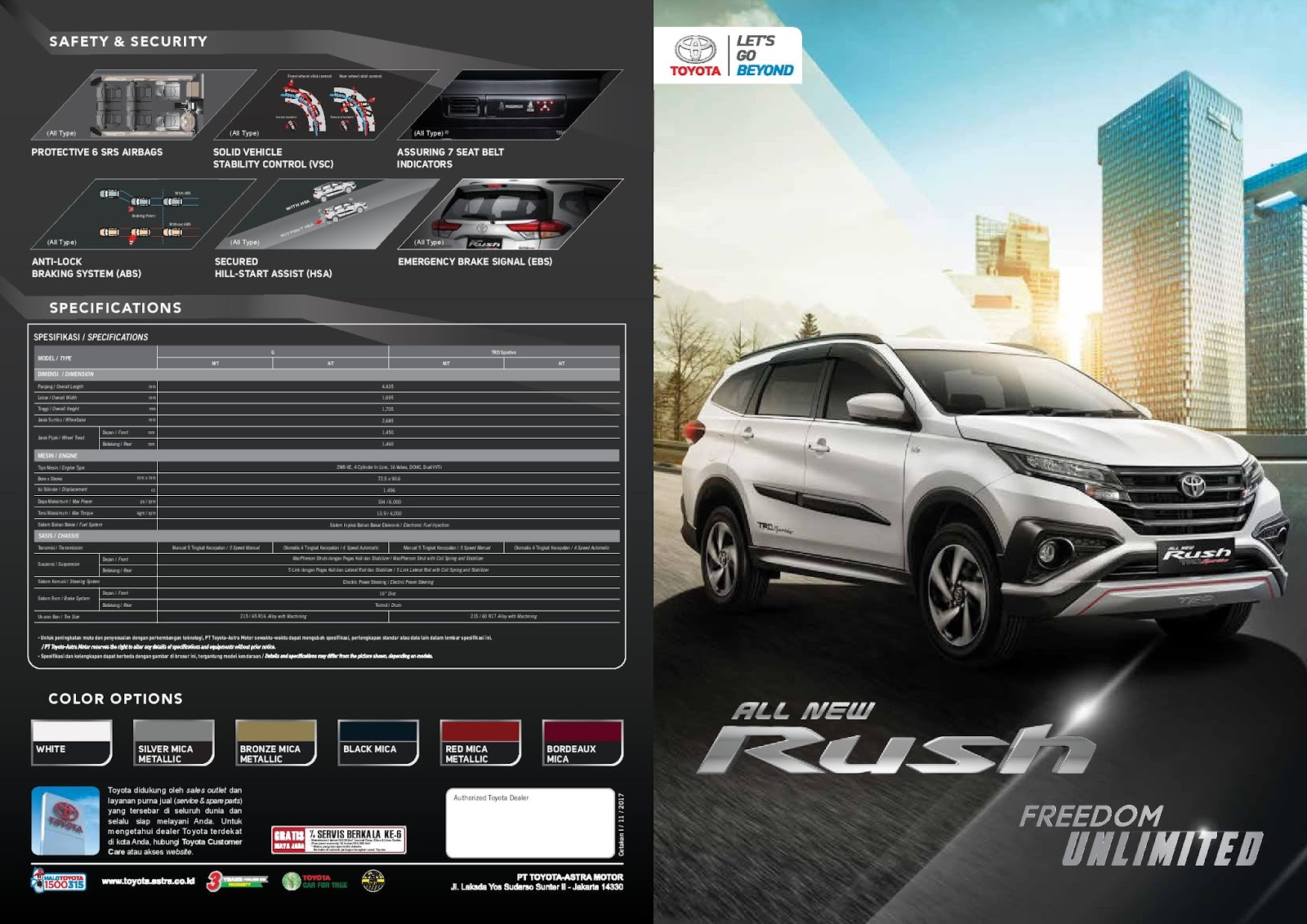 spesifikasi grand new avanza 2018 ukuran veloz brosur all toyota rush pekanbaru