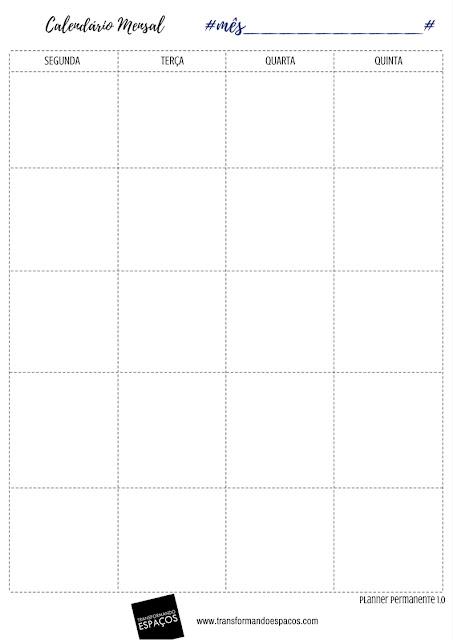 Calendário Mensal - Planner Permanente TE 1.0