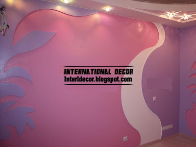 modern gypsum board wall interior girls room design with spotlight