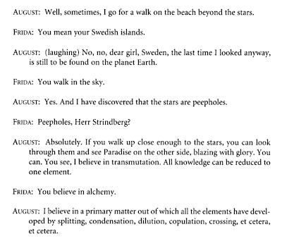 August Strindberg once claimed in his profound, deranged seriousness that the stars in the sky were peepholes in a wall.