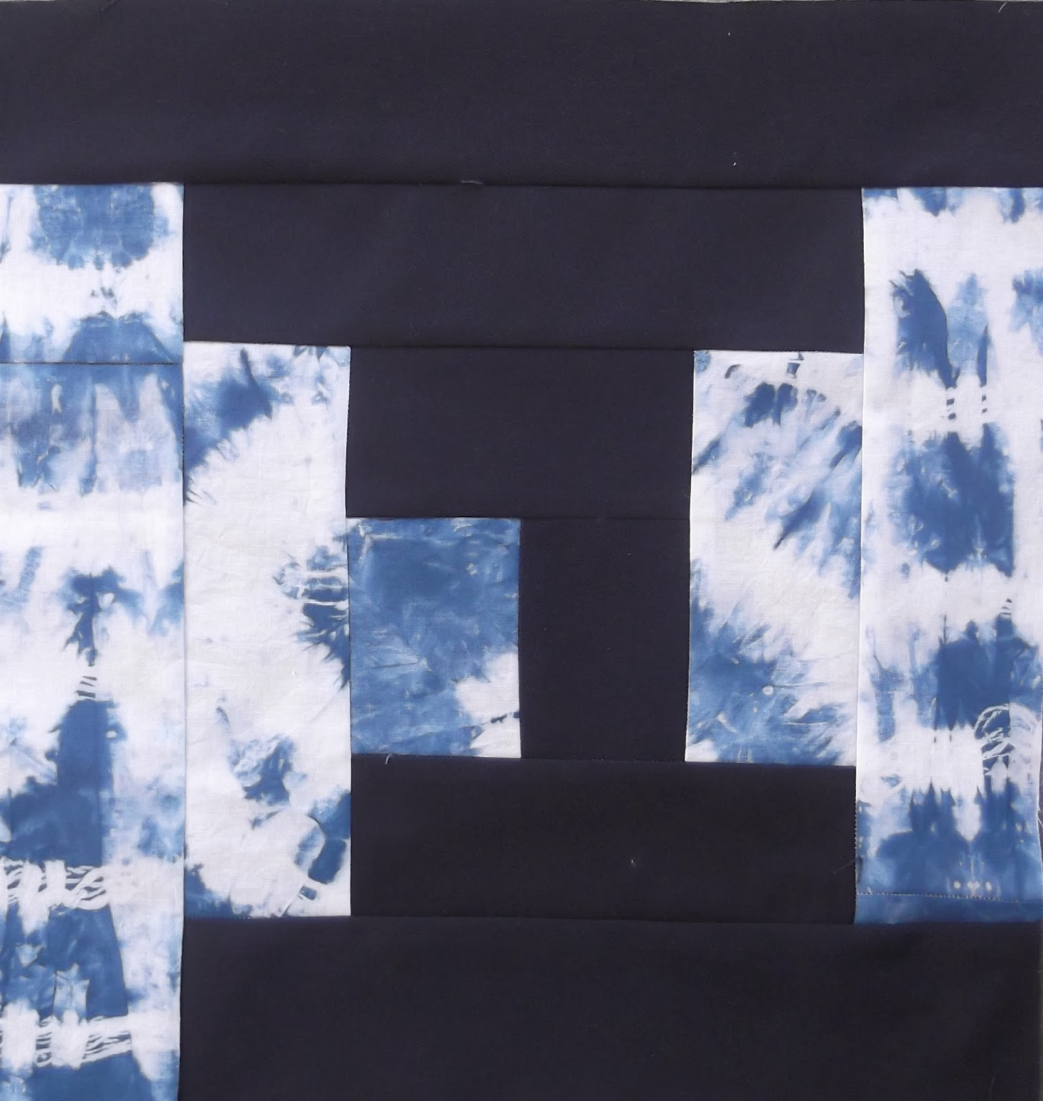 blue patchwork, patchwork with shibori, shibori, log cabin patchwork