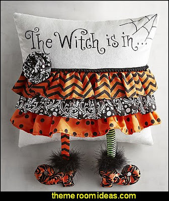 The Witch Is In Pillow  Halloween decorations - Halloween decorating props - Halloween theme - Halloween decorating ideas - Halloween decor - wall murals halloween haunted mansion - lifesize standing halloween figures - halloween bedding -