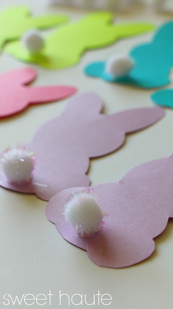 DIY Bunny Cotton Tail Banner FREE PRINTABLE Template Pom Pom Decor