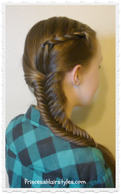 Faux lace braid, fishtail braid combo hairstyle tutorial