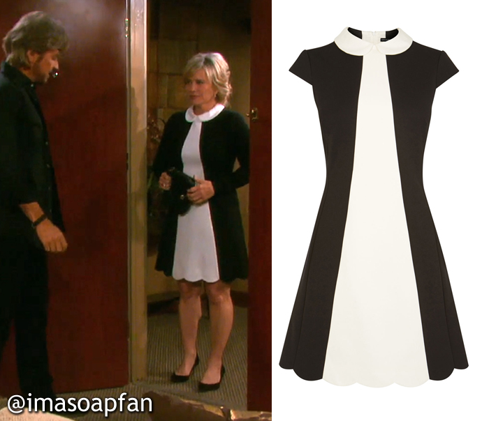 Kayla Brady's Black and Off-White Colorblocked Dress - Days of Our Lives, Season 51, Episode 08/29/16