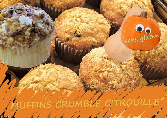 muffins à la courge, potiron ou potimarron, crumble, sans gluten