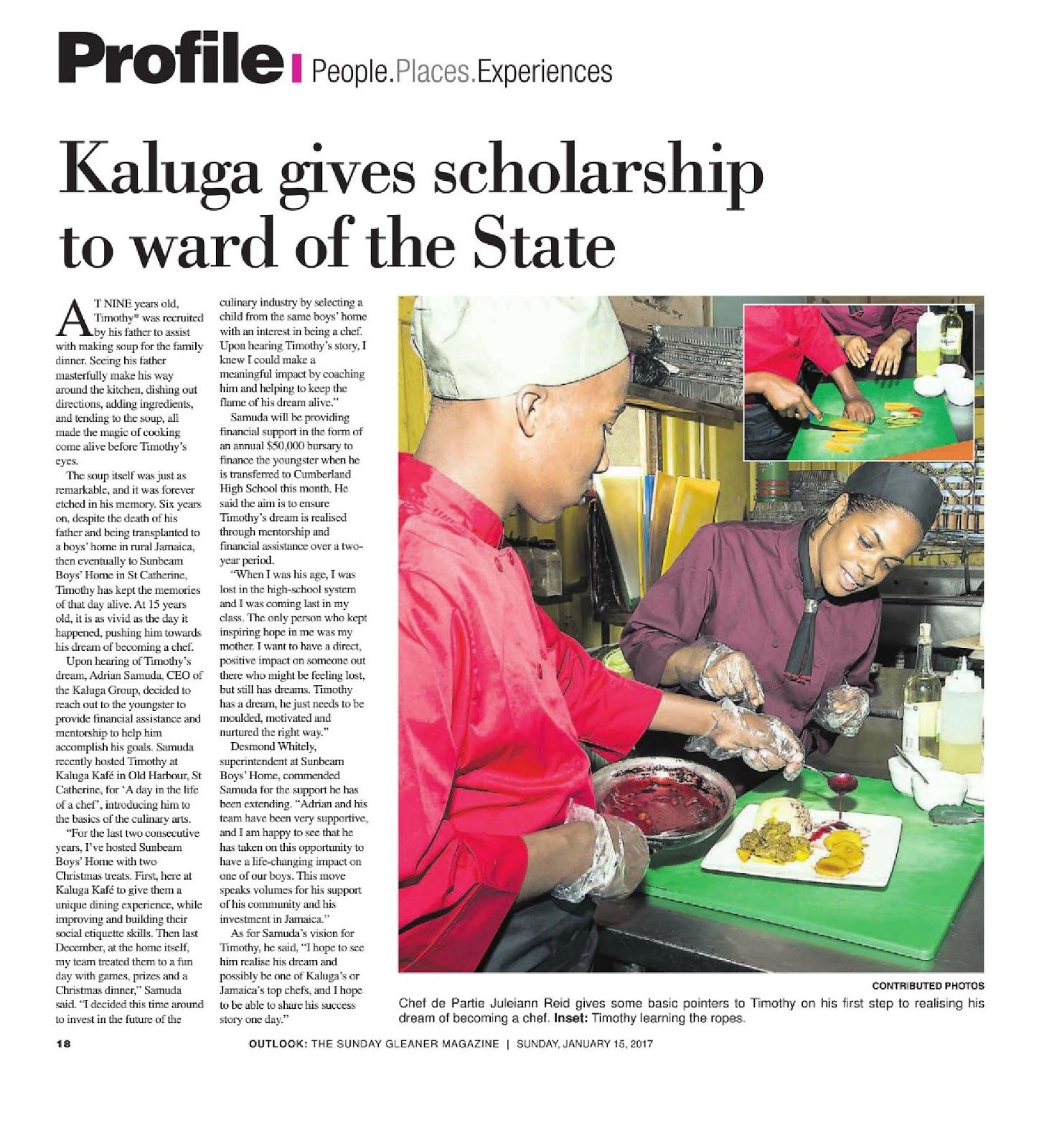 Kaluga gives scholarship to ward of the state