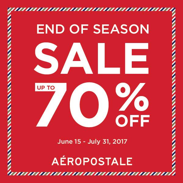 Check out the sales section for savings and shop when seasons change (and right before) to score seasonal discounts up to 70% off regular prices. Aeropostale Free Shipping Policy Sign up to the Aeropostale e-mail to receive free shipping on purchases of $%().
