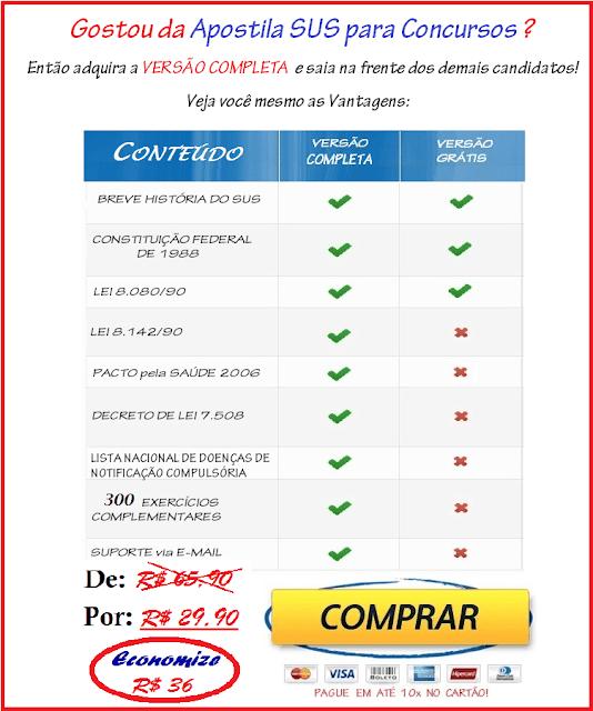 Apostilas SUS para Concursos 2019: Mais de 17.000 downloads da Versão Grátis e mais de 3.000 Apostilas Versão Completa vendidas!