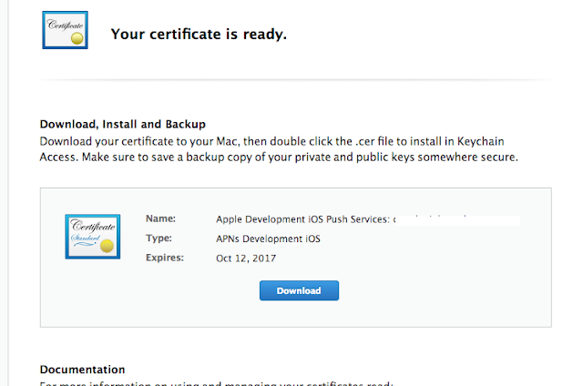 Development push certificate created successfully