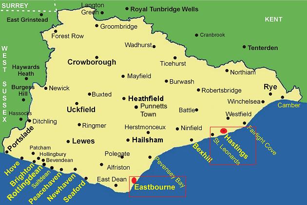 eastbourne east sussex map