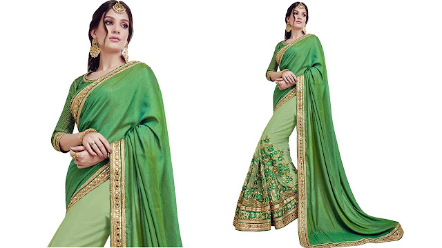 Zofey Self Design, Embroidered Bollywood Georgette, Net Saree  (Green)
