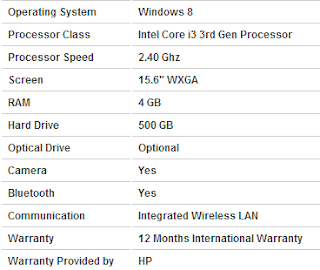 HP Pavilion Specifications