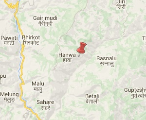 Earthquake epicenter map of Dolakha, Nepal
