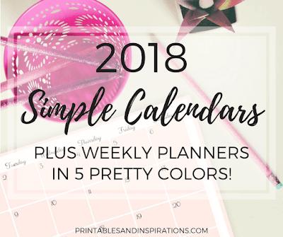free 2018 simple calendar printable