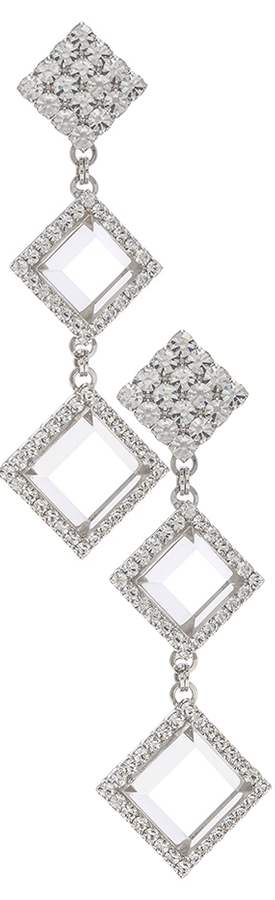 ALESSANDRA RICH  Long Diamond Crystal & Plexiglass Earrings