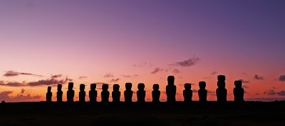 Row of Moai in Easter Island, Chile.