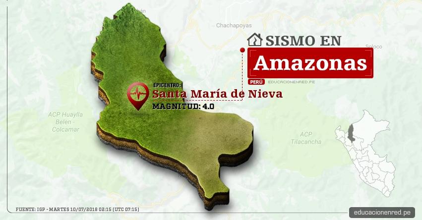 Temblor en Amazonas de magnitud 4.0 (Hoy Martes 10 Julio 2018) Sismo EPICENTRO Santa María de Nieva - Condorcanqui - IGP - www.igp.gob.pe