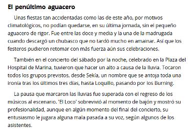 Nota de prensa de La Verdad Cartagena. Loquillo