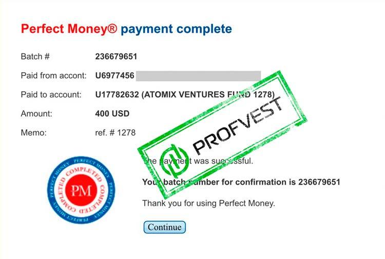 Депозит в Atomix Ventures Fund