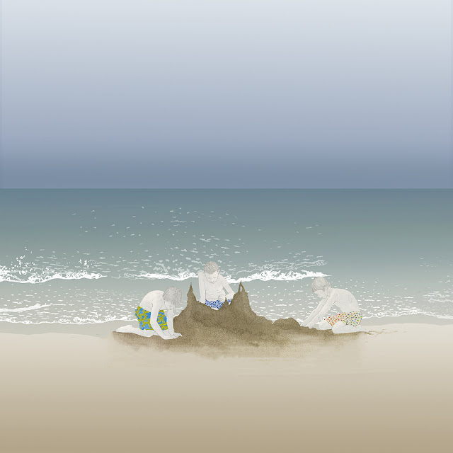 dibujo, playa, castillo arena, niños