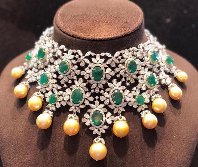 Cabochon Emerald Heavy Choker by Mangatrai