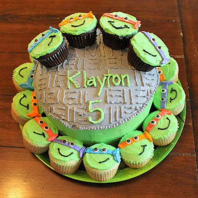 Homemade Ninja Turtle Birthday Party Cake and Cupcakes