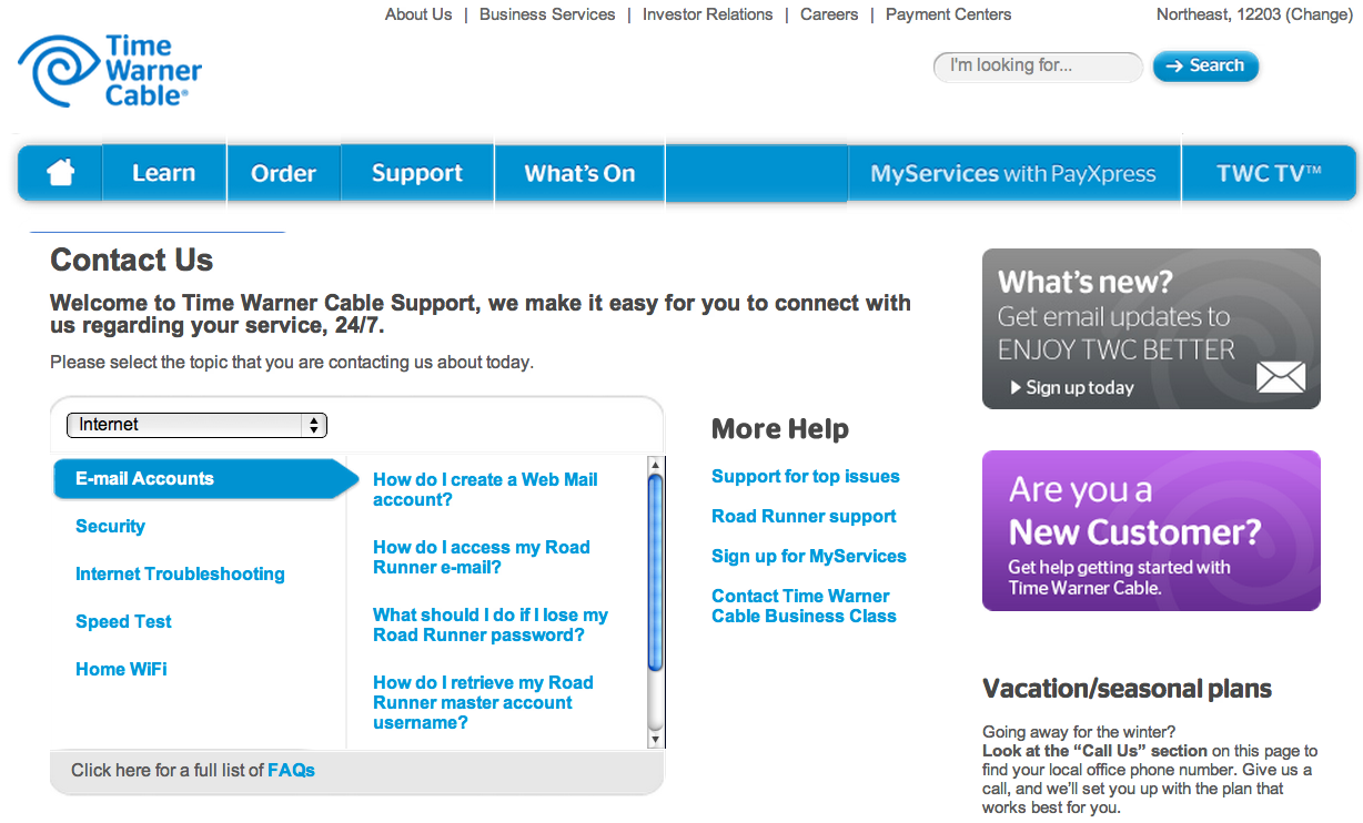 Time Warner Cable Phone Support: Prognosis Negative - Albany