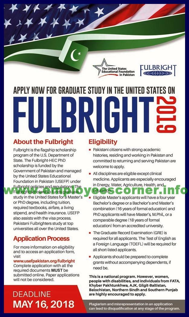 US Fulbright Scholarships 2018 for Pakistani Students