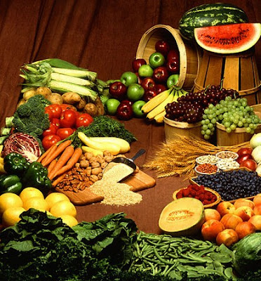 plant based diet with beans, grains, vegetables and fruit