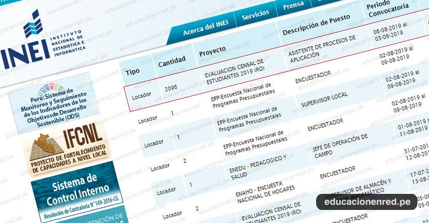 INEI Convoca a más de 2 mil Asistentes de Procesos de Aplicación para Evaluación Censal de Estudiantes - ECE 2019 MINEDU [S/ 4,200.00] www.inei.gob.pe