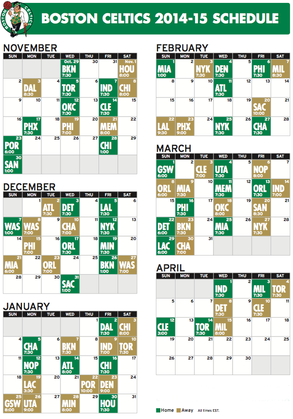It is an image of Gorgeous Celtics Schedule Printable