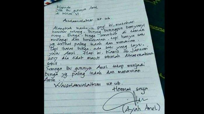 Ngakak! Surat Kocak Ayah Amel dengan Ibu Gurunya Amel Ternyata Tak Dibiarkan oleh Ibunya Amel