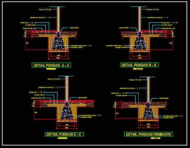 Gambar Kerja Detail Pondasi Menerus Format DWG