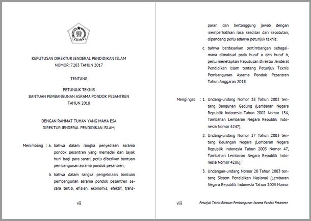 Juknis Bantuan Pembangunan Asrama Pondok Pesantren Tahun 2018