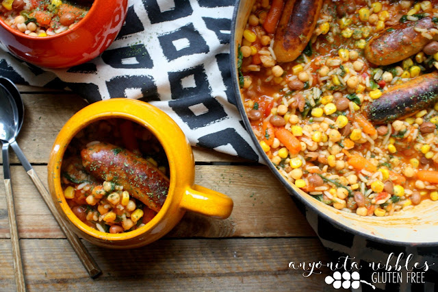 This 20 minute, one-pot Moroccan stew is packed with veggies but the star is the gluten free MOR sausages spiced with harrisa paste and bursting with chickpeas, red peppers and delicious pork!