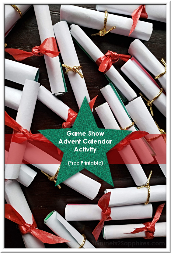 Free Printable Game Show Cards Non-Candy Advent Calendar Filler  |  3 Garnets & 2 Sapphires