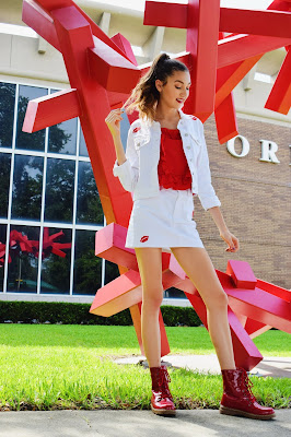 White denim set with embroidered red lips from Forever 21 with red combat boots