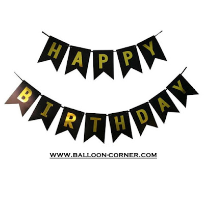Bunting Flag Segilima HAPPY BIRTHDAY Huruf Hot Print Emas Warna Hitam