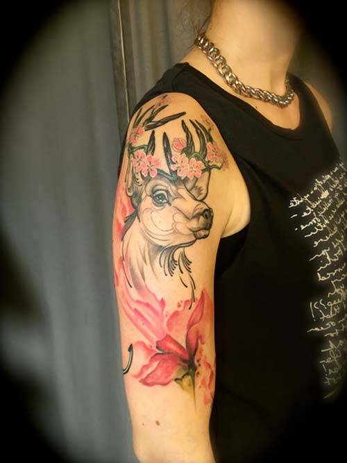 kadın kol dövmeleri floral deer arm tattoo for woman