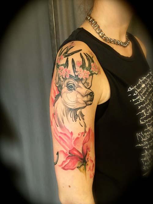 kadın kol dövmeleri floral deer arm tattoo for woman