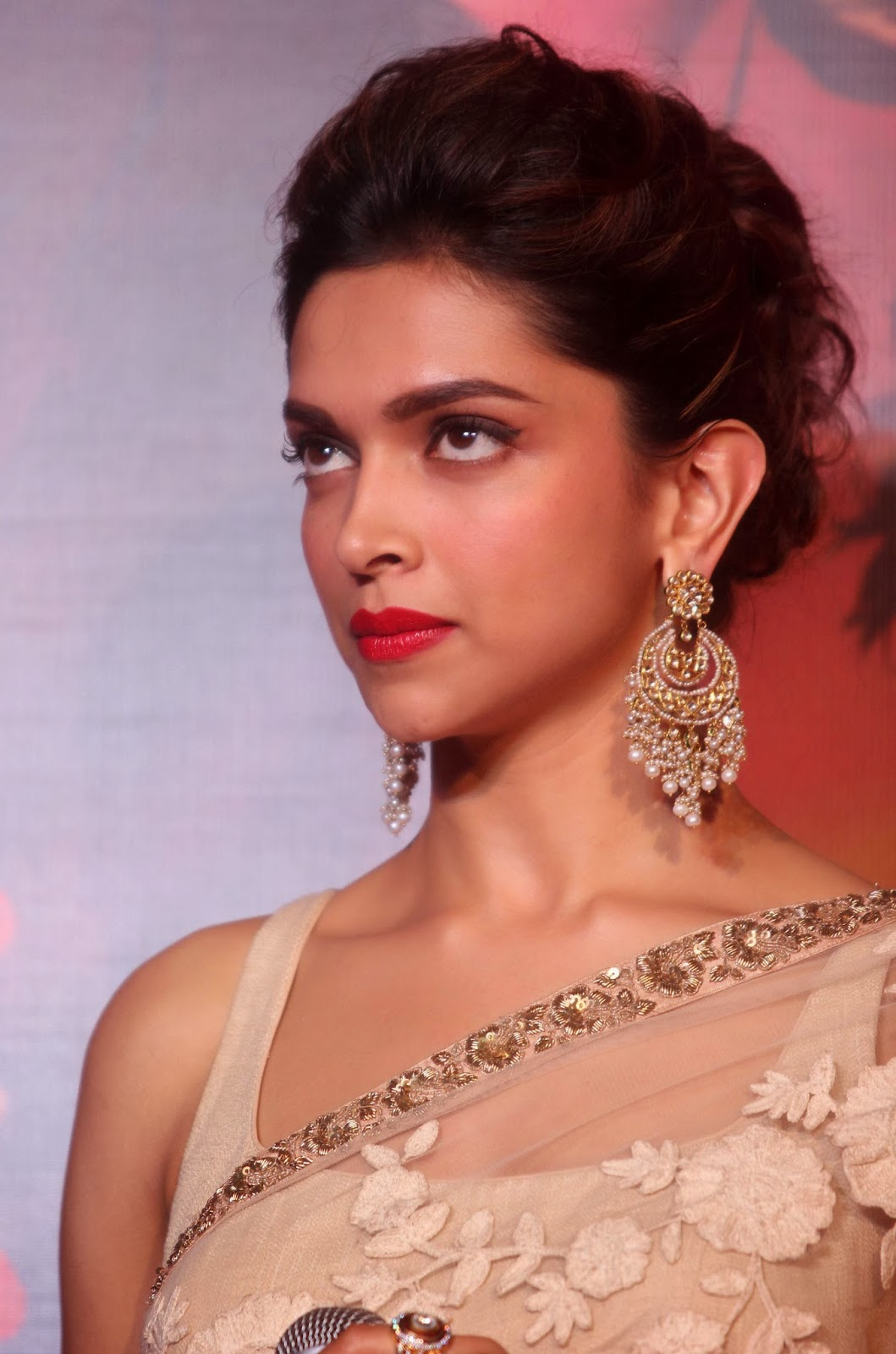 Bollywood Actress Deepika Padukone Hot Smiling Red Lips Face Closeup